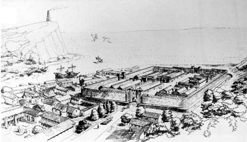 Dover harbour in Roman times