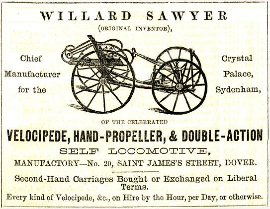 Advertisement for Sawyer's Velocipedes