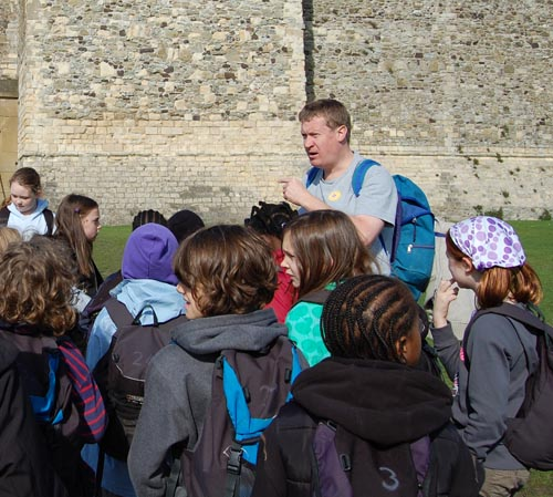 schools group on a walk with Andrew Denyer